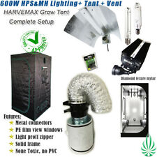 "Quality Mylar Grow Tent 1x1x2M Hydroponic 600W Digital HPS MH Lamp 4"" Fan Filter"