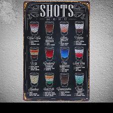 Beer Cocktail Shots Menu Tin Poster Vintage Metal Sign Bar Wall Decor B3 8x12