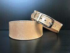 S/M Leather Dog Collar LINED Greyhound Lurcher Whippet Saluki CAFFE LATTE