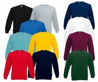 Fruit Of The Loom Mens Set-In Plain Crew Neck Sweatshirts & Hoodies