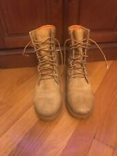 Timberland Boots Tan Leather High Top Lace Up Oil Resistant Size 7W Made In USA
