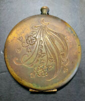 G- Vintage Brass Makeup Compact Case Made In USA