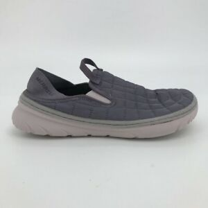 Merrell Womens Hut Moc Loafer Shoes Purple White Round Toe Quilted Slip Ons 8