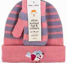 Oliver & Olivia Pink Striped Knitted Hat Mittens Gloves Set Age 0-24 Months