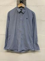 G-Star RAW Size Small Mens Striped Shirt Blue Long Sleeve Button Up