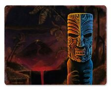 Vintage Styled Metal Sign Tiki Bar Art Maori Polynesian Volcano