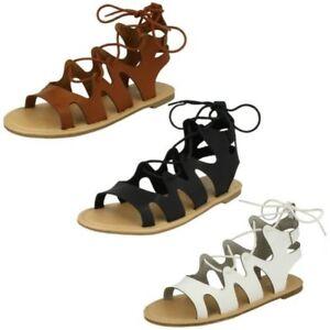 Ladies Spot On Lace Up Leg Flat Gladiator 'Sandals'