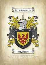 Surname Coat of Arms Printed on Parchment (Family Crest)