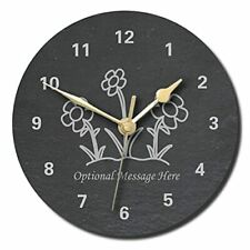 Flowers Design Slate Clock - Personalised with text of your choice(Large (300mm)