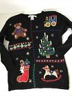 Victoria Jones Women's Christmas Sweater M Beads Embroidered Ugly Pretty