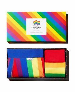 Happy Socks Pride Rainbow Striped Socks & Boxer Briefs Gift Box, Choose Size