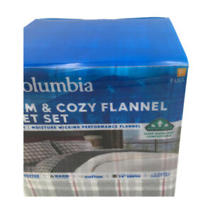 New Columbia Performance 4 Piece Sheet Set Gray Multi Plaid Size Full