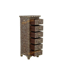 Bone Inlay Chest of 6 Drawers Floral Design in Brown Color With Insurance Home D