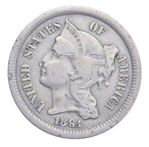 ***3***THREE***Cent*** - 1881 Three Cent Nickel Piece - Tough to Find *895