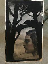 """Vintage JOSEF M KOZAK Original Artwork """"Native American Profile"""" Unframed Signed"""