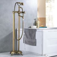 Freestanding Bathtub Faucet Tub Filler with Hand Shower Antique Brass Mixer Tap