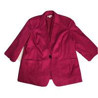 Coldwater Creek Women's Blazer Fuschia Pink Size 20-22 3/4 Sleeve Cotton Blend