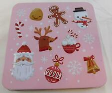 Pink Christmas Gift Card Holder Box Metal Tin New Santa Candy Cane Reindeer