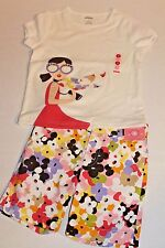 Gymboree Girl Size 4 Glamour Safari Floral Shorts & Shirt Top w/ Girl Outfit NEW