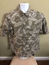 Woolrich Men's Medium  Jeep Foliage Hawaiian Button Front Short Sleeve Shirt 5A