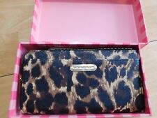 VICTORIA'S SECRET Genuine Leather leopard Side Zip Wallet Clutch + Gift Box