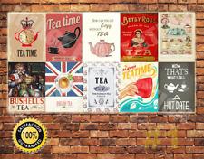 JOB LOT 10 X Metal Tin Sign Wall Plaque Tea Time Signs Kitchen Bar Vintage #1
