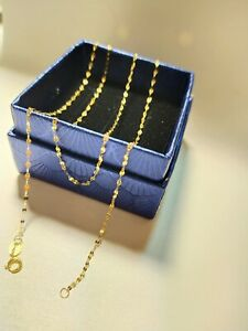 Stamped Au750 Solid 18k yellow Gold Necklace Women Chain 46cm