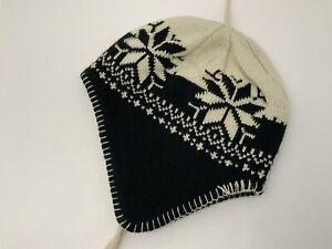 Woolrich Winter Hat Ear Flap Beanie Tassles Black Tan Fleece Headband Excellent