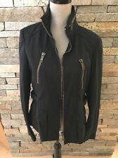 NWOT Burberry London - Black Cotton Motorcycle Jacket - Size 12