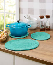 Set of 3 Fabric Trivets Kitchen Table top Countertop Protectors Hot Pads - Teal