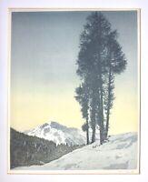 Hans Figura (1898-1978) signierter Farbholzschnitt auf Seide, Lärchen im Gebirge