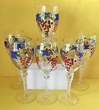 Hand Painted Wine Glasses, Set of 6, Grapes and Flowers, Spiral Stem, 8 oz