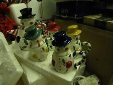 Snowman Tea Pot And 4 Colored Cups Ceramic