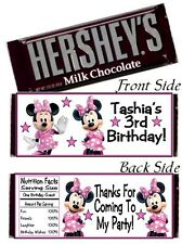 12 Minnie Mouse Clubhouse Birthday Party Baby Shower Candy Hershey Bar Wrappers