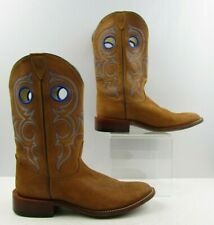 Ladies Nocona Brown Leather Blue Embroidery Cowboy Western Boots Size: 10 B