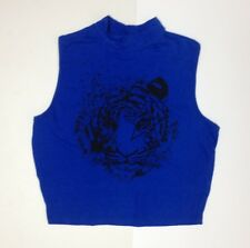 RUE21 Women's T-shirt Cropped Top Blue LION Large *FREE SHIPPING*  A35