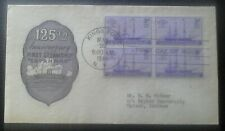 First day of issue 1944 125th Annv First Steamship, block of 4, Scott # 923