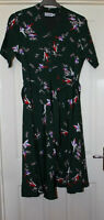 Looking Glam Green Bird Print Belted Dress Size 18