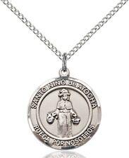 Sterling Silver Round Catholic Nino De Atocha Medal Pendant, 3/4 Inch