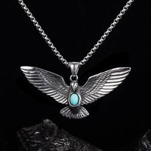 Mens Vintage Silver Eagle Pendant w. Turquoise Stone Western Necklace Box Chain
