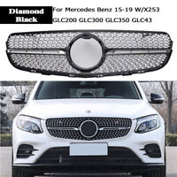 For Mercedes Benz GLC W/X253 Diamond Front Grille GLC300 GLC350 15-19 Black