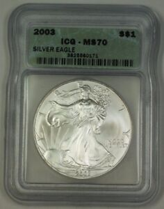 2003 American Silver Eagle ASE Dollar $1 Coin ICG MS-70 Perfect Gem