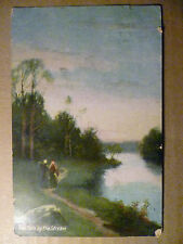 Old Printed Postcard The Path by the Stream No.317 (1/2 Penny Postage Revenue)