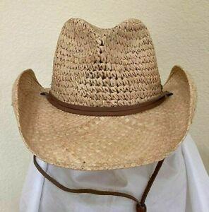 SCALA SALE * MENS SHAPEABLE COWBOY HAT * 1 L * NEW RAFFIA & TOYO STRAW SUN SHADY