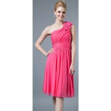Bright Pink One Shoulder Formal Cocktail Party Dress Made in USA. Size L (AU 12)