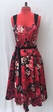 Red black floral satin boned velvet net underskirt fit and flare dress UK 12 NEW