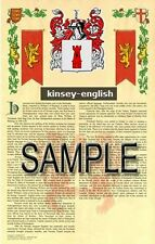 KINSEY Armorial Name History - Coat of Arms - Family Crest GIFT! 11x17