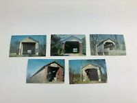 Lot Of 5 Vintage Indiana Covered Bridge Postcard Unused Bridge Society Wheeling