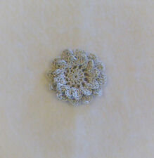 Crocheted Metallic Silver 2-Layered Mum Flower Applique X-Small Quilting Sewing