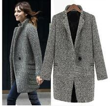VANCY Elegant Lady Vintage Fashion tweed jacket winter Overcoat Trench Coat Size
